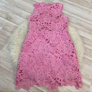 Tobi pink lace / crochet bodycon mini dress